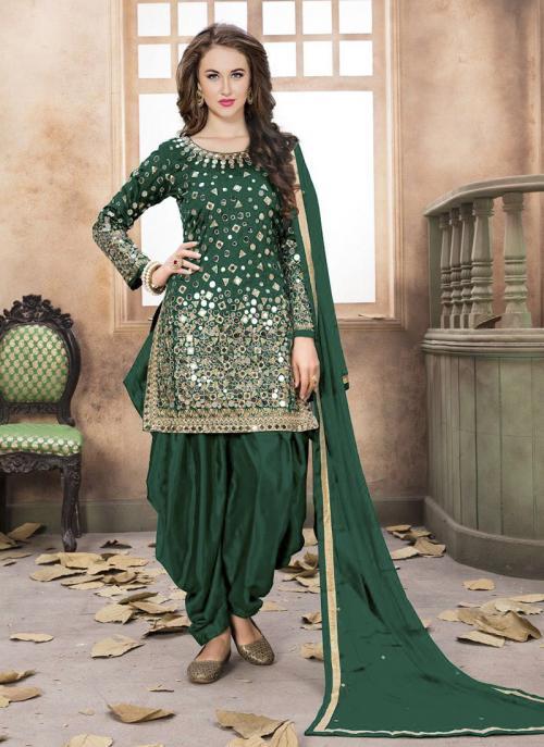 Wedding Wear Green Silk Mirror Work Patiala Suit