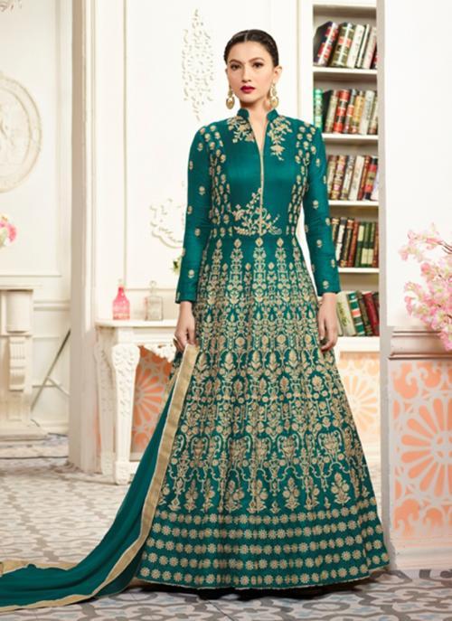 Wedding Wear Green Tapeta Silk Hand Work Anarkali Style