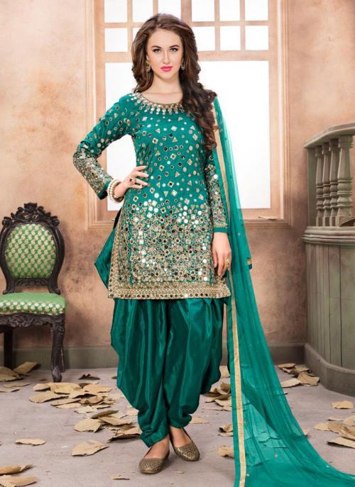 Wedding Wear Green Tapeta Silk Mirror Work Patiala Suit