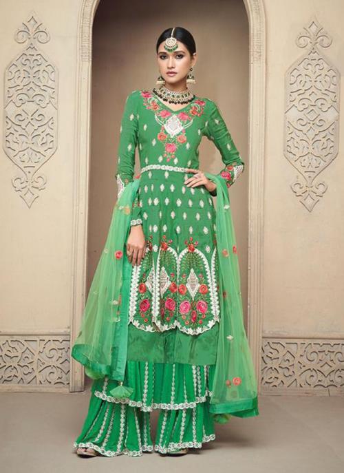 Wedding Wear Green Viscose Upada Embroidery Work Sharara Style
