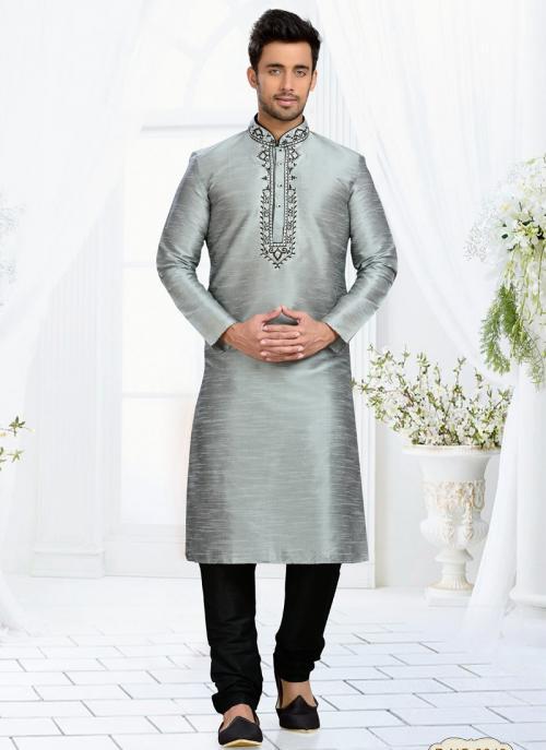 Wedding Wear Grey Dhupion Embroidered Work Churidar Sherwani