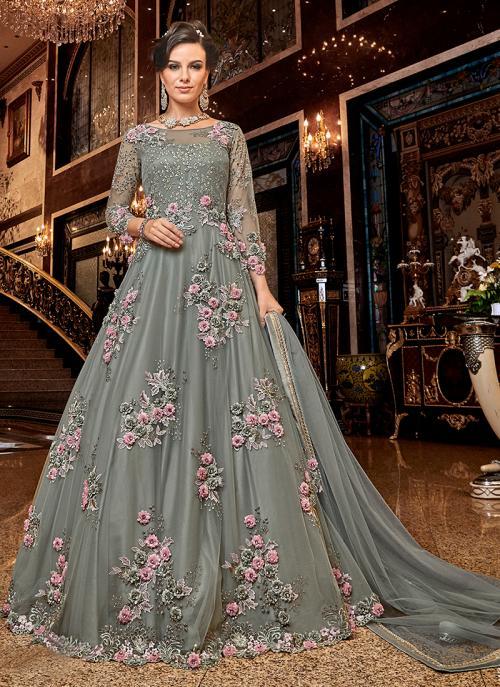 Wedding Wear Grey Net Embroidery Work Anarkali Suit