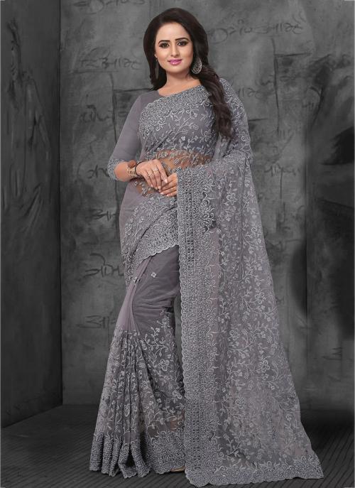 Wedding Wear Grey Net Embroidery Work Saree