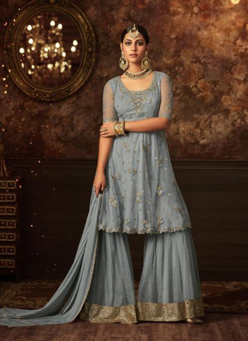 Wedding Wear Grey Net Embroidery Work Sharara Suit