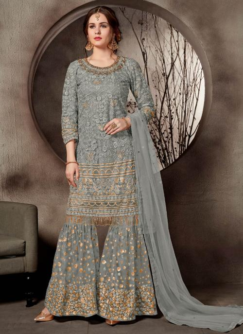 Wedding Wear Grey Net Heavy Embroidery Work Sharara Suit