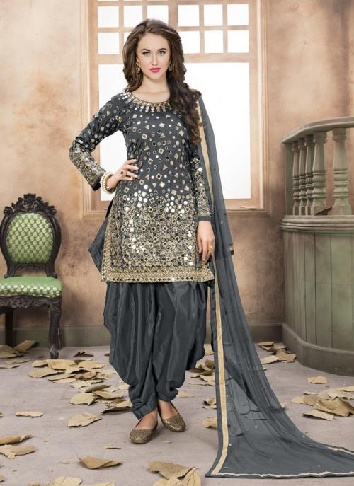 Wedding Wear Grey Silk Mirror Work Patiala Suit