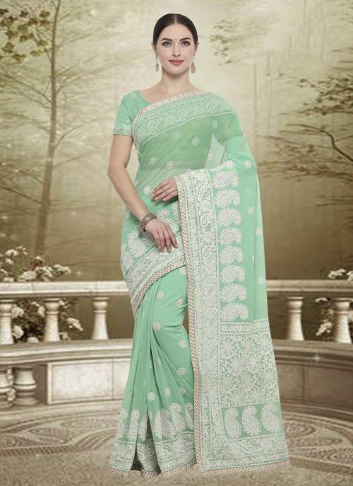 Wedding Wear Light Green Georgette Embroidery Work Saree