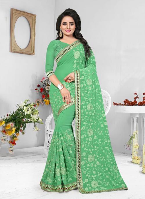 Wedding Wear Light Green Georgette Resham Work Saree