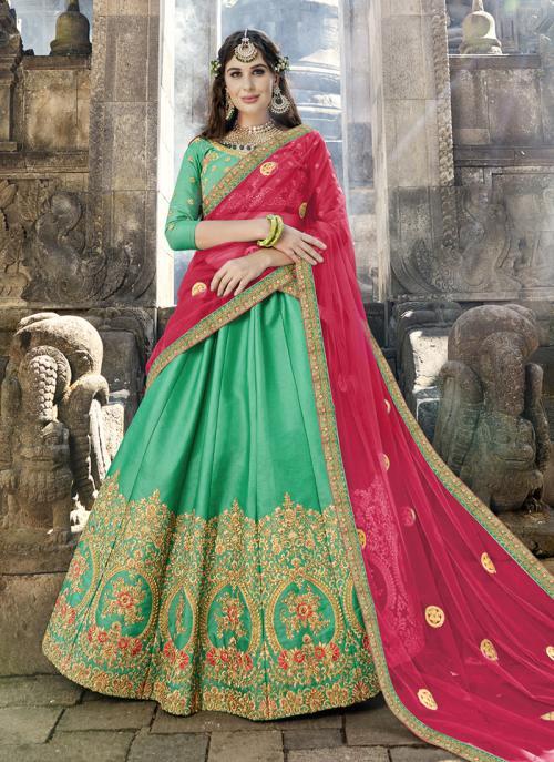 Wedding Wear Light Green Silk Embroidery Work Lehenga Choli