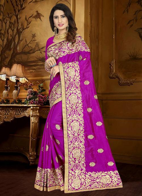 Wedding Wear Magenta Art Silk Heavy Embroidery Work Saree