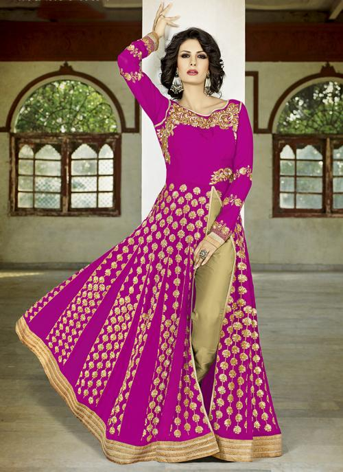Wedding Wear Magenta Georgette Sequins Work Anarkali Suit