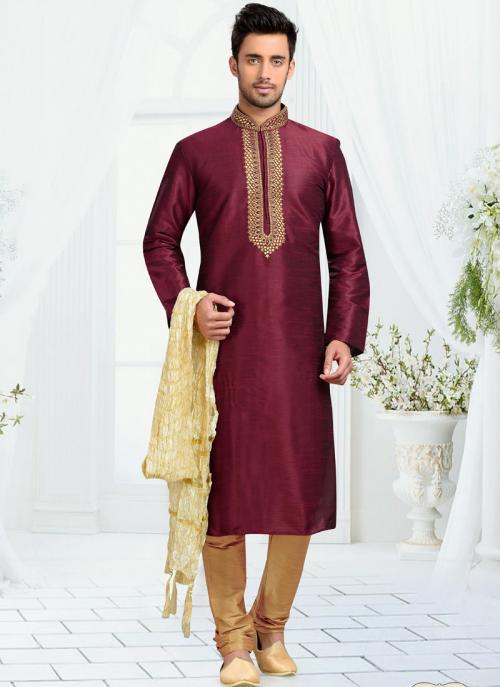 Wedding Wear Maroon Art Silk Embroidered Work Churidar Sherwani