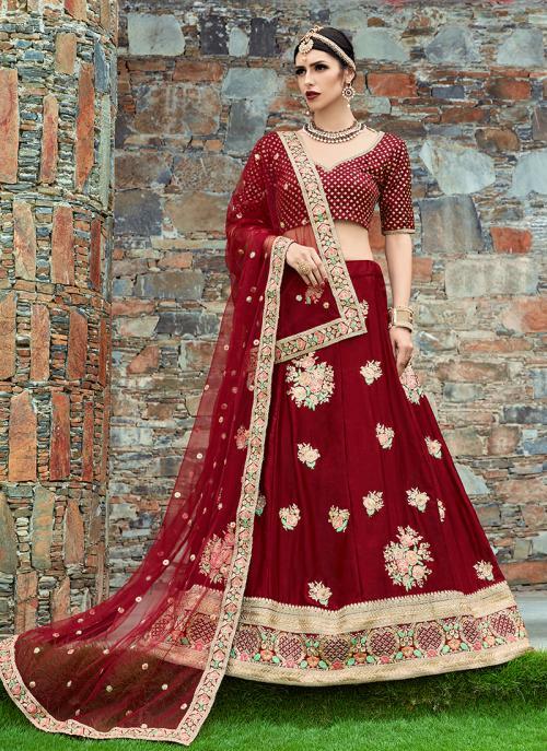 Wedding Wear Maroon Art Silk Embroidery Work Lehenga Choli