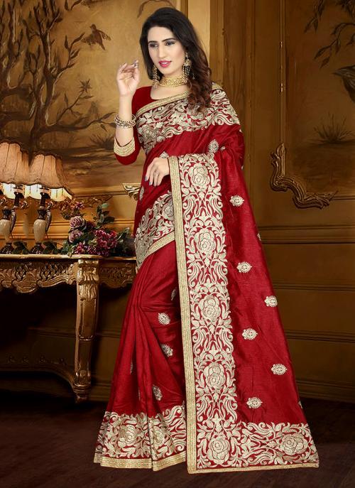 Wedding Wear Maroon Art Silk Heavy Embroidery Work Saree