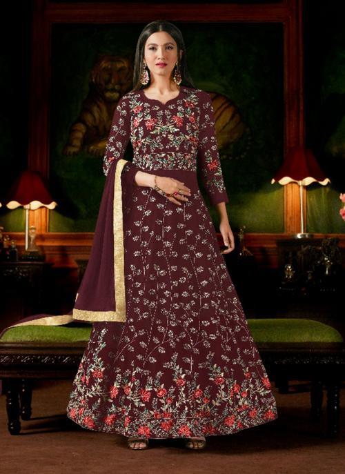 Wedding Wear Maroon Georgette Heavy Embroidery Work Anarkali Style