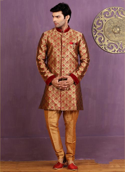 Wedding Wear Maroon Jacquard Embroidered Work Sherwani