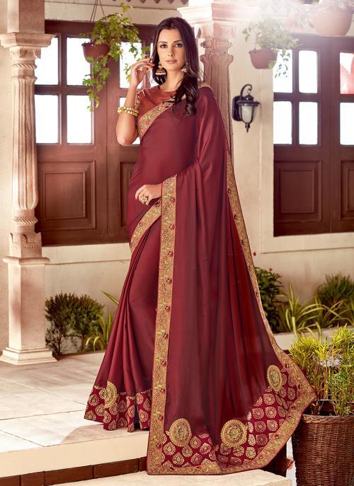 Wedding Wear Maroon Silk Embroidery Work Saree