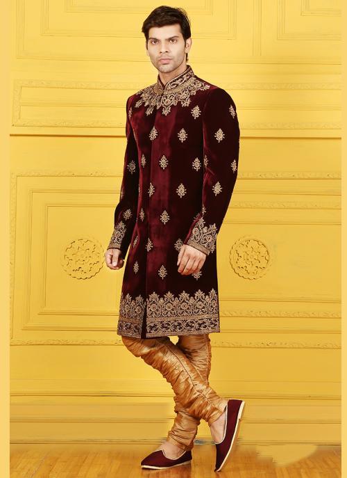 Wedding Wear Maroon Velvet Embroidered Work Sherwani