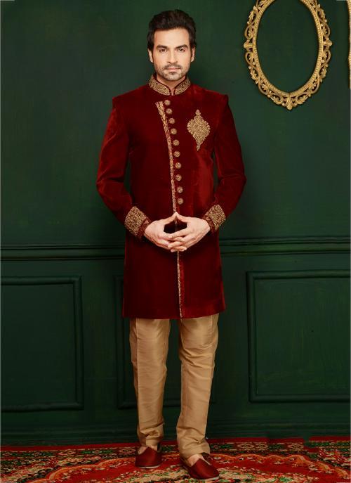 Wedding Wear Maroon Velvet Embroidered Sherwani Style