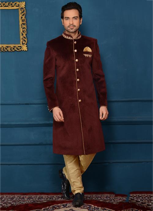 Wedding Wear Maroon Velvet Embroidery Work Sherwani Style