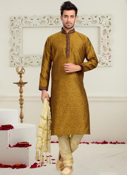 Wedding Wear Mustard Art Silk Embroidered Work Churidar Sherwani