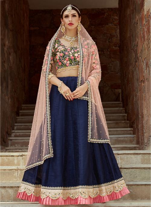 Wedding Wear Navy Blue Art Silk Sequins Work Lehenga Choli
