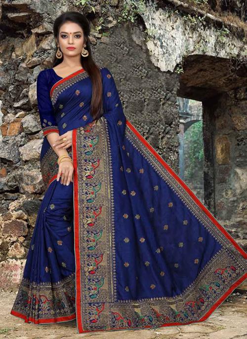 Wedding Wear Navy Blue Dola Silk Embroidery Work Saree
