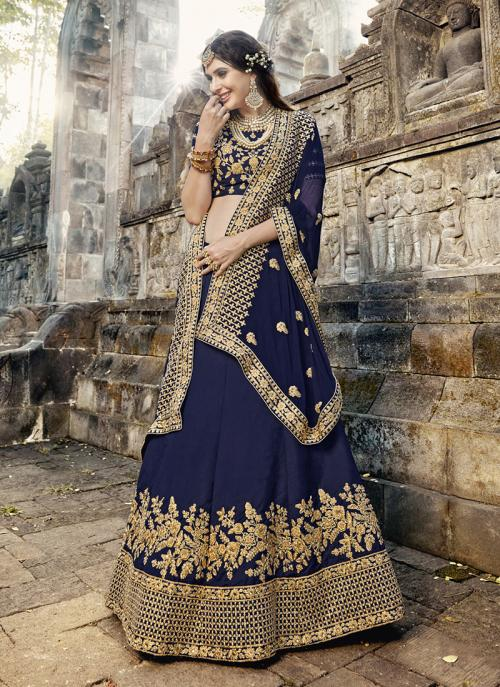 Wedding Wear Navy Blue Silk Embroidery Work Lehenga Choli