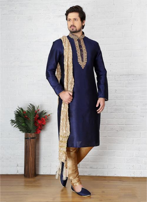 Wedding Wear Art Silk Neavy Blue Embroidery Work Sherwani