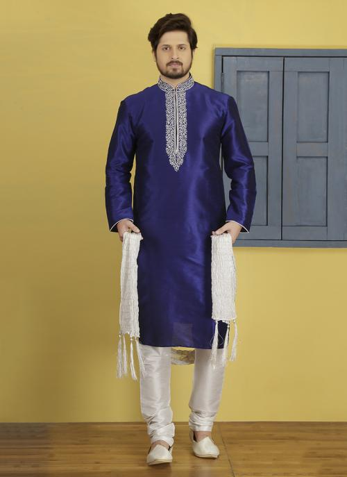 Wedding Wear Neavy Blue And White  Art Silk Embroidery Work Sherwani Style