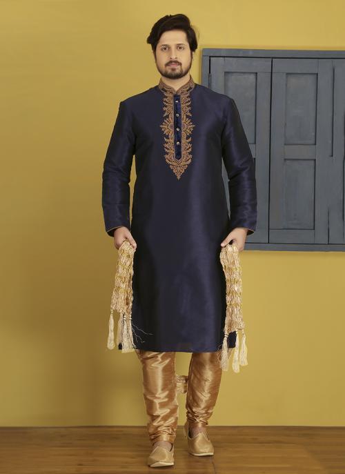 Wedding Wear Embroidery Work Neavy Blue Art Silk Sherwani