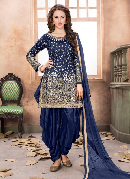Wedding Wear Neavy Blue Tapeta Silk Mirror Work Patiala Suit