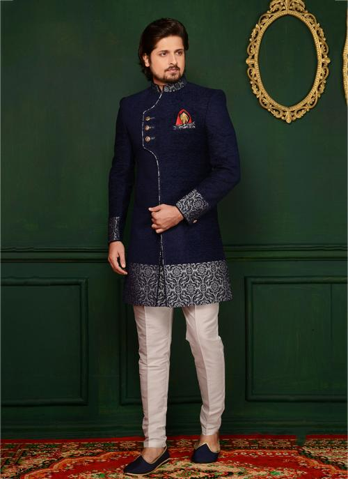 Wedding Wear Neavy Blue Velvet Embroidery Work Sherwani Style