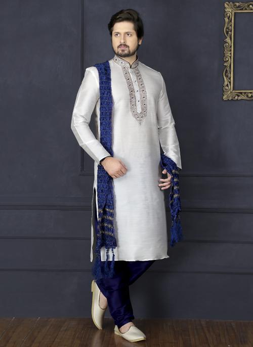 Wedding Wear Off White And Navy Blue Art Silk Embroidery Work Sherwani