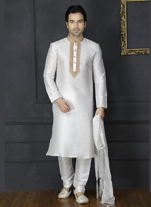 Wedding Wear Off White Embroidery Work Art Silk Sherwani Style