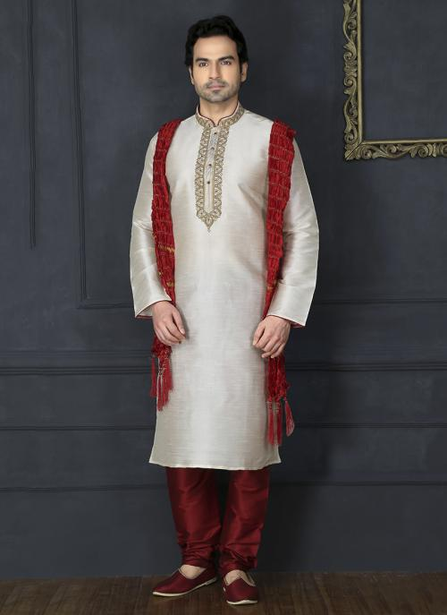 Wedding Wear Off White Embroidery Work Art Silk Sherwani