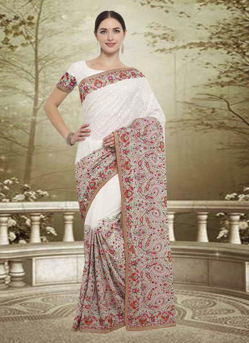 Wedding Wear Off White Georgette Embroidery Work Saree