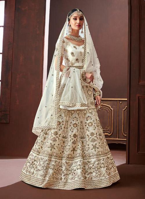 Wedding Wear Off White Organza Silk Embroidery Work Lehenga Choli