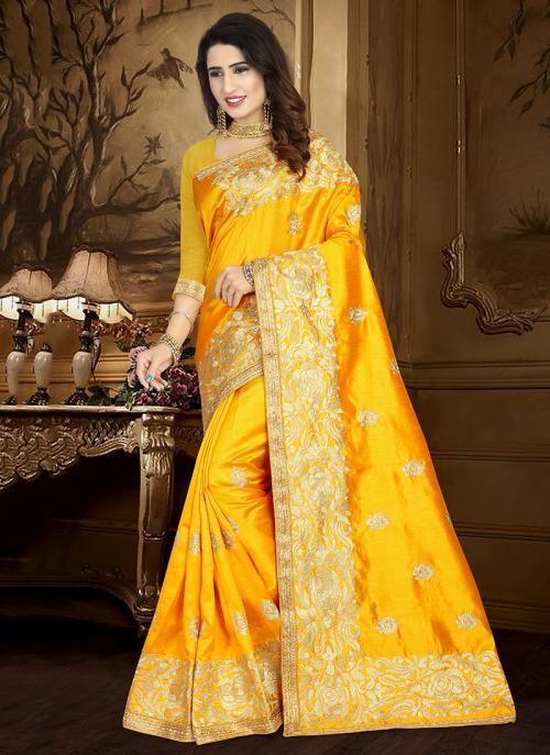 Wedding Wear Orange Art Silk Heavy Embroidery Work Saree