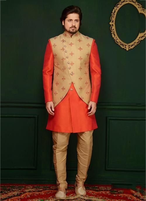 Wedding Wear Orange Banarasi Silk Embroidery Work Sherwani Style