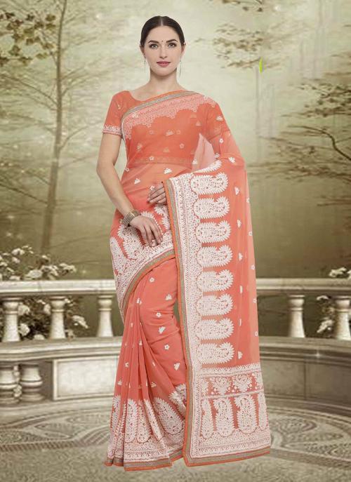 Wedding Wear Orange Georgette Embroidery Work Saree