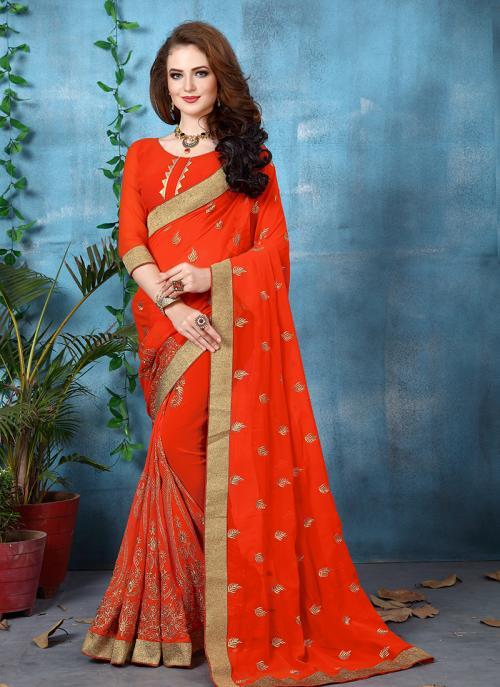 Wedding Wear Orange Georgette Zari Embroidery Work Saree