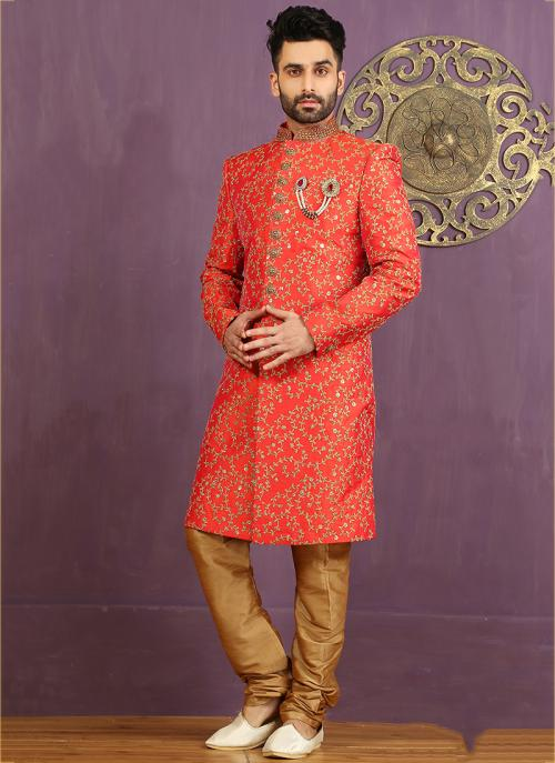 Wedding Wear Orange Jacquard Embroidered Work Sherwani