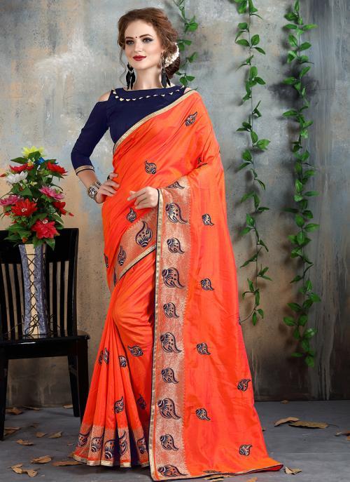 Wedding Wear Orange Silk Zari Embroidery Work Saree