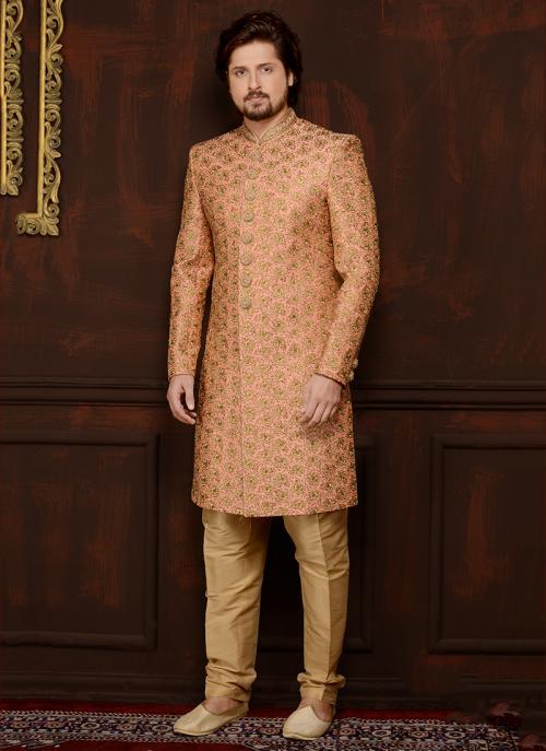 Wedding Wear Peach Banarasi Silk Embroidery Work Sherwani Style