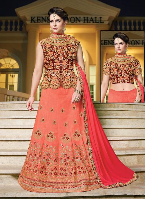 Wedding Wear Peach Banglori Silk Embroidery Work Long Choli Style Lehenga