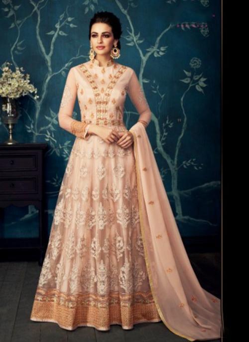 Wedding Wear Peach Georgette Net Embroidery Work Anarkali Suit