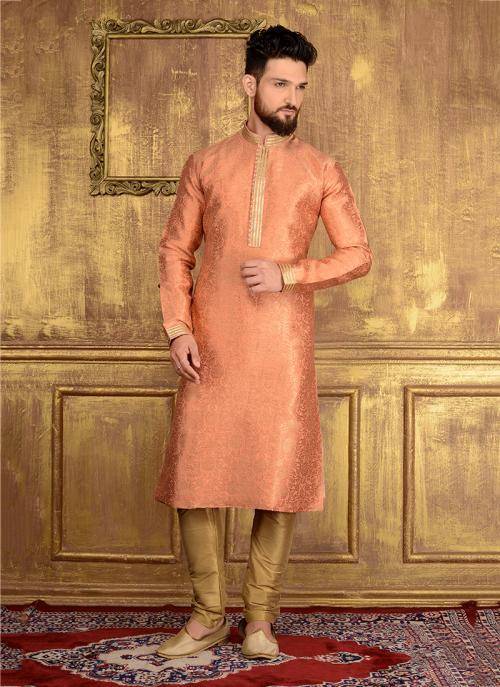 Wedding Wear Peach Jacqaurd Silk Lace Work Kurta Pajama