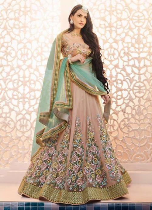 Wedding Wear Peach Net Embroidered Work Lehenga Choli