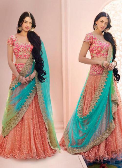 Wedding Wear Peach Net Embroidered Work Lehenga Choli